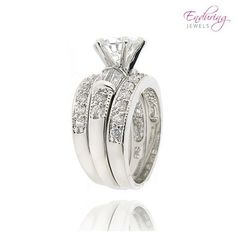Set: Enduring Jewels Yours Truly Carat Total Weight Cubic Zirconia Bridal Rings at Savings off Retail! Bridal Rings, Wedding Rings, Yours Truly, Life Is Beautiful, 3 Piece, Jewerly, Dream Wedding, Fine Jewelry, Engagement Rings