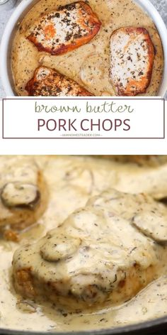 This Brown Butter Pork Chops recipe makes the perfect holiday main dish recipe for dinner! This homestead recipe dresses up your boring pork chops with creamy and delicious browned butter sauce and fresh, earthy mushrooms. Save this pin for your dinner pa Mushroom Pork Chops, Pork Chops With Mushrooms, Mushroom Sauce For Pork, Pork Recipes For Dinner, Pork Dinner Ideas, Meatball Dinner Ideas, Dinner Party Recipes, Irish Desserts, Pork Chop Dinner
