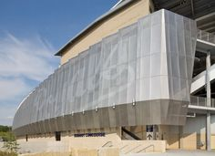 An image-based perforated panel system for the Kauffman Stadium in Kansas City, designed by the architects at Populous, formerly a division of HOK.