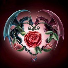 Ever Moment Needlework DIY Diamond Painting Animal Dragon Rose Flower Fantasy Patterns Cross Stitch Mosaic Home Decor Dragon Rise, Dragon Heart, Rosen Tattoos, Dragon Artwork, Dragon Pictures, Dragon Tattoo Designs, 5d Diamond Painting, Cross Paintings, Mythical Creatures
