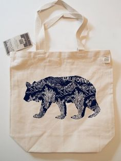 California Bear Canvas Eco Tote | $29.00 | Hand Screen Printed in California | Your purchase will help save pets! | Jusani Culture