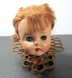 VINTAGE Doll Head Large Rubber Doll Head Movable Eyes by punksrus