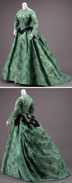 Dress, American, about 1865. Silk moiré taffeta figured and ikat, linen lace, and frogging, needlework-covered buttons, glazed cotton lining, silk banding, and metal hook & eye closure. Green taffeta with minute woven lozenge figure and warp-printed fern and flower design in black. Lower edge of bodice & peplum trimmed with black silk bobbin lace; tulle ruffles on sleeves; skirt longer in back. Museum of Fine Arts, Boston