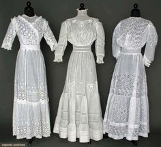 SUMMER TEA GOWNS, white cotton lawn w/ lace insertions Augusta Auctions. One for me and one for each of my tea buddies. Edwardian Clothing, Edwardian Dress, Antique Clothing, Edwardian Era, 1900s Fashion, Edwardian Fashion, Vintage Fashion, Fashion Goth, Vintage Beauty