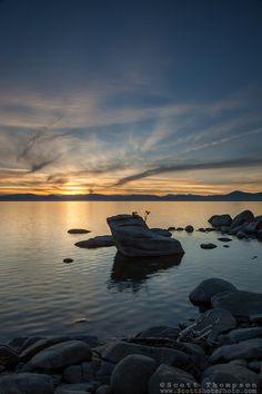 """Bonsai Rock Sunset 6"" - Photograph of Bonsai Rock, Lake Tahoe at sunset."