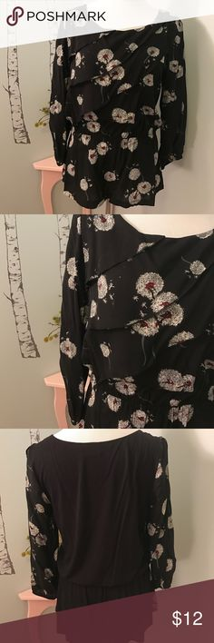 Anthropologie Deletta brand long-sleeve blouse Very beautiful Anthropologie split-sleeve blouse. Has peplum on bottom of top with a cotton back. Dandelion printed and only worn once! Anthropologie Tops Blouses