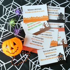 Fun Halloween scavenger hunt idea with free printable clue cards, perfect for Halloween parties or to celebrate with your kids