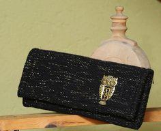 Black handbag with gold details   unique by VeselinkaHandmade