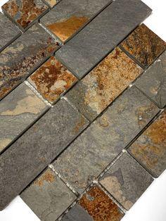 Rusty Brown Slate Mosaic Backsplash Tile For Traditional Kitchen Slate Backsplash, Kitchen Backsplash, Kitchen Cabinets, Kitchen Counters, Backsplash Ideas, Countertops, Slate Stone, Stone Tiles, Canyon Stone