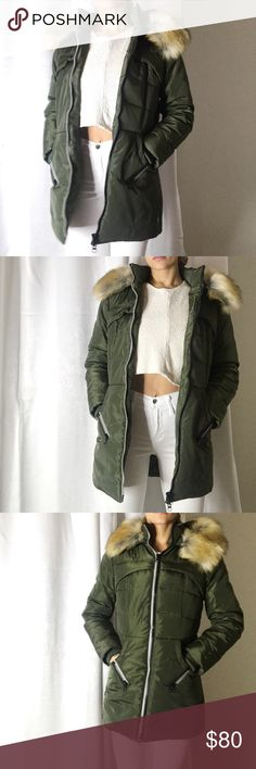Sporty Chic Winter Coat Sporty, trendy, can be worn with or without faux fur. Inside and outside pockets. Length is medium. Has some puff but still sleek. Comes in Black too. Jackets & Coats Puffers