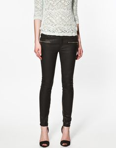 Type of Shoes to wear with black skinny pants - COATED TROUSERS WITH ZIPS - Trousers - Woman - New collection - ZARA United States