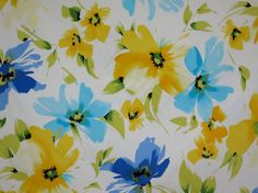 Blue and Yellow on White Floral Print by fabricsandtrimmings