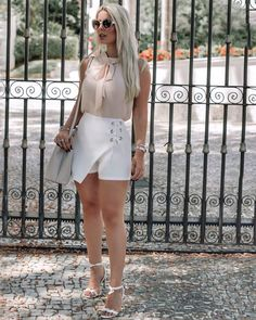 ✨✨ Casual Attire, Casual Dresses, Short Dresses, Ankle Wrap Sandals, Muse, White Shorts, Fancy, My Style, Womens Fashion