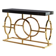 The Mackintosh Gold & Black Glass Console