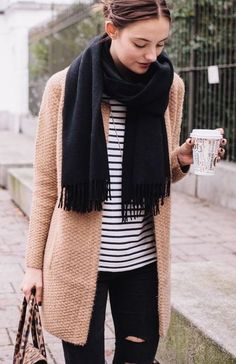#fall #fashion / black scarf + stripes