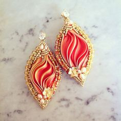 Shibori earrings/shibori SUNSET earrings by LaviBijoux on Etsy