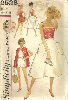 Vintage 50s Sewing Pattern Beach Playsuit Simplicity 2528 Size 11 on Etsy, $12.50