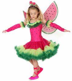 Cute Kids Halloween Costumes, Best Kids Costumes, Watermelon Costume, Watermelon Dress, Fruit Costumes, Fairy Costumes, Nutrition Month Costume, Costume Craze, Fairy Dress