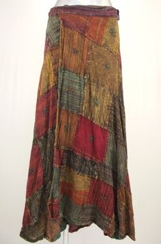 Hippy Skirt Bohemian Patchwork Wrap Maxi Skirt Fair Trade By Folio N014SK3