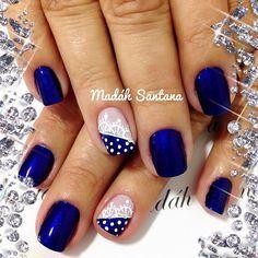 Blue Nail Art Ideas for 2018 – Top 150 Designs Pretty Nail Colors, Pretty Nails, Hair And Nails, My Nails, New Nail Art, Gel Nail Designs, Stylish Nails, Gorgeous Nails, Blue Nails