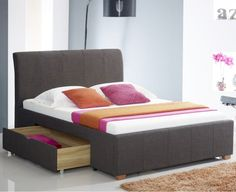 Inkgrid -King Size Beds - Derry King Size Bed With Customizable Storage In Dark Grey Fabric By Ridus