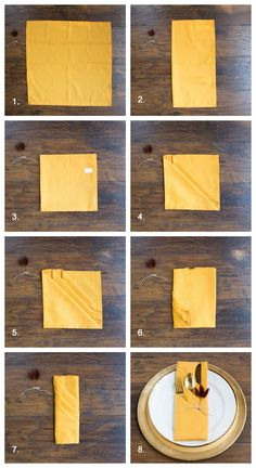 3 Pretty Ways to Fold Napkins for Your Fall Tablescape Ideas Fall Fold Napkin fo. 3 Pretty Ways to Fold Napkins for Your Fall Tablescape Ideas Fall Fold Napkin folding ideas napkins Pretty Tablescape Ways Paper Napkin Folding, Christmas Napkin Folding, Christmas Napkins, Wedding Napkin Folding, Thanksgiving Tafel, Thanksgiving Napkin Folds, Ostern Party, Deco Table Noel, Dining Etiquette