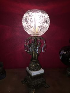 Vintage Cherub Lamp Crystal Prisms Brass Marble Base