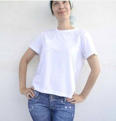 Beginner's guide to sewing with knitted fabrics - Peak T-shirt. Company Ideas, Knitted Fabric, Knits, Fabrics, Sewing, Knitting, Mens Tops, T Shirt, Collection