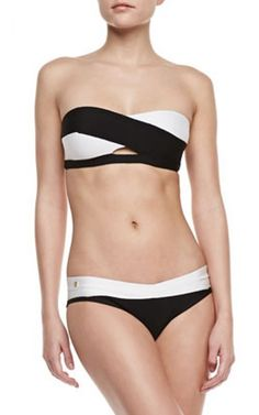 a92ace00f5 Black White Two-Piece Herve Leger Bandage Swimsuit White Two Piece, Summer  Bathing Suits