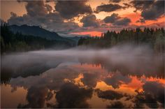 *🇦🇹 Evening on the Mur River (Austria) by Friedrich Beren / Stunning Photography, Nature Photography, Many Clouds, On Golden Pond, Beautiful Places, Beautiful Pictures, Magical Images, Photo Viewer, Star Sky