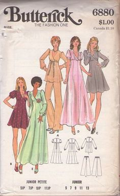 Butterick 6880 Vintage 70's Sewing Pattern SAUCY Disco Era Empire Waist Surplice Bodice Fit & Flared Gored Skirt Tunic Top, Party Dress, Prom Formal Wedding Gown