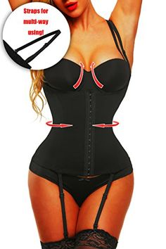 a95844c2ae30d ChrisJe Plus Size Black Lace Waist Trainer Shaper with 4 Removable Straps  for Women   For more information