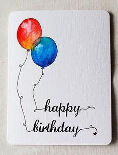Aquarel ballonnen  verjaardagskaart