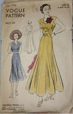 1930s Vogue Pattern One-Piece Frock. #dress