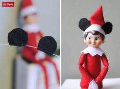 My top 10 Disney Elf on the Shelf ideas for the Holiday season! Elsa, Olaf, Baymax, Mickey, Buzz Lightyear and more! Tips and Tricks for Disney. Mickey Mouse Christmas, Christmas Elf, All Things Christmas, Disney Christmas Crafts, Christmas Ideas, Disney Christmas Decorations, Disney Holidays, Elf Auf Dem Regal, Nightmare Before Christmas Tree