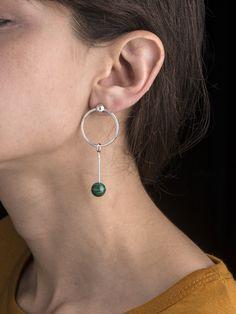 Malachite Sinker Earring