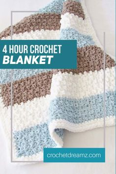 Try this easy and quick chunky afghan free crochet pattern. This fast baby blanket will take only 4 hours and will make a great baby shower gift paired with a book or a soft toy. The stitch pattern is simple and perfect for beginners. Crochet Baby Blanket Free Pattern, Baby Afghan Crochet, Crochet Patterns, Baby Afghans, Baby Boy Blankets, Knitted Baby Blankets, Baby Boys, Fast Crochet, Crochet For Beginners