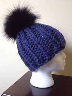 Chunky Navy Blue Wool Hat - Black Raccoon Fur Pom Pom