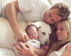 Newborn photo with dog