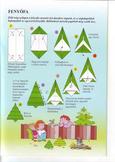 Instructions for folding an origami Christmas tree. Great idea for hand strengthening and fine motor skills in children!