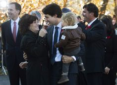 Prime minister-designate Justin Trudeau holds his son Hadrien while hugging his mother Margaret outside Rideau Hall in Ottawa on Wednesday, November (Sean Kilpatrick / THE CANADIAN PRESS) Justin Trudeau Mother, Margaret Trudeau, Liberal Government, Cabinet Minister, Election Night, Proud Mom, Ex Wives, Live News, Her Smile