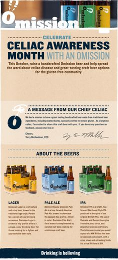 Omission Beer , Gluten Free, Made in Oregon Gluten Free Alcohol, Gluten Free Beer, Dairy Free Diet, Dairy Free Recipes, Alcohol Jello Shots, Blended Drinks, Celiac Disease, Design Web, Beer Brewing