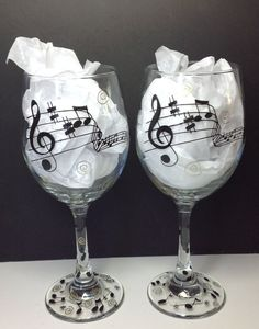 Music Wine glass. Musical notes on Etsy, $24.95