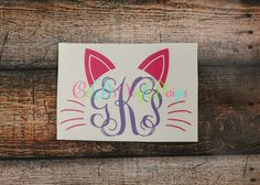 Cat Monogram Decal  Monogram Cat Decal  by CandDVinylDesigns