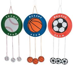 These sport craft kits for kids include paper plates, self-adhesive foam pieces and satin cord to hang these personalized sport signs on their doors. Summer Sports Crafts, Kids Sports Crafts, Sport Craft, Summer Crafts, Vbs Crafts, Camping Crafts, Decor Crafts, Craft Kits For Kids, Crafts For Kids