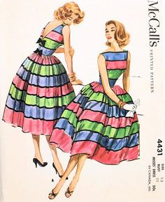 Just Wow!  1950s McCalls Pattern 4431 Party Cocktail Dress Bateau Boat Neckline Deep V Back Full Skirt Totally Beautiful Design