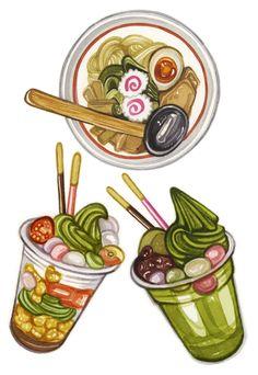 Laura Manfre - watercolour illustrations: Ramen noodles, matcha parfait and pancakes