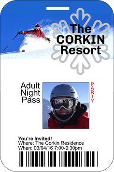 Ski Pass Party Invitation