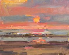 Roos Schuring New paintings- Seascapes and landscapes plein air: Seascape spring # 20 Sunset II - zonsondergang