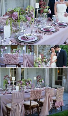 Lilac wedding table decor inspirations; you could add some blush and more green also